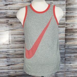 Nike Swoosh Tank Top Gray Tank Red Logo Mens Med